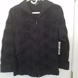 Samuel Dong Textured Blouse Jacket XS Black Zipper